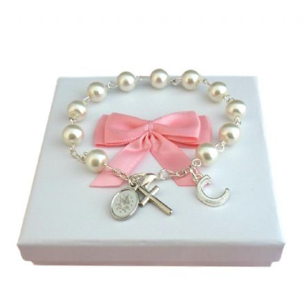 Pearl Rosary Bracelet with Letter Charm